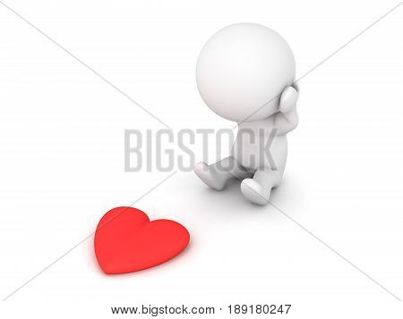 3D Character being broken hearted. Image showing the concept of a break up.