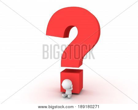 3D Character stressed out sitting next to big question mark. Image conveying the stress of answering a question or not knowing and answer.