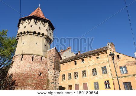 Carpenters Tower former defensive bastion Sibiu Transylvania Romania