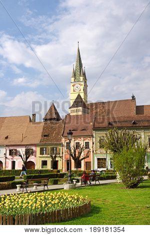 square of Rigele Ferdinand in Medias Transylvania Romania