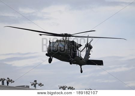 May 28, 2017 - Concord, NC, USA: A Blackhawk helicopter performs a stunt during pre-race ceremonies for the Coca Cola 600 at Charlotte Motor Speedway in Concord, NC.
