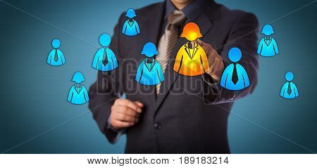 Blue chip recruitment consultant selecting a female employee in a group of white collar worker icons. Business concept for talent acquisition human resources management and gender equal opportunity.