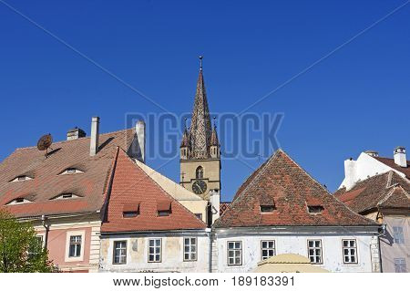 Roofs and bell tower of the Evangelical Lutheran cathedral of St Mary14th century Sibiu Transylvania Romania