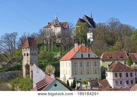 Church and tower Sighisoara Transylvania in Romania