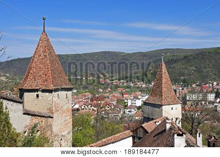 Towers of the entrance of Sighisoara transylvania Romania