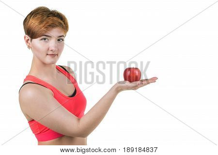 Healthy Lifestyle, Healthy Eating. Young Girl Holds A Red Apple On Her Hand, On A White Isolated Bac