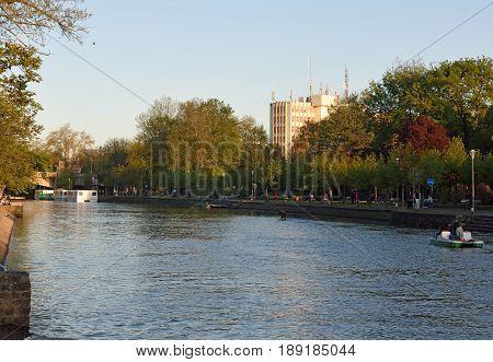 Detail of the Waterway Bega of Timisoara in Romania