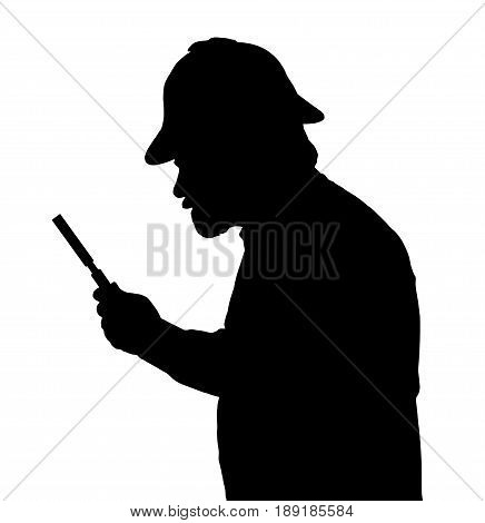 Silhouette Of Bearded Man Investigating With A Magnifying Glass And Sherlock Hat