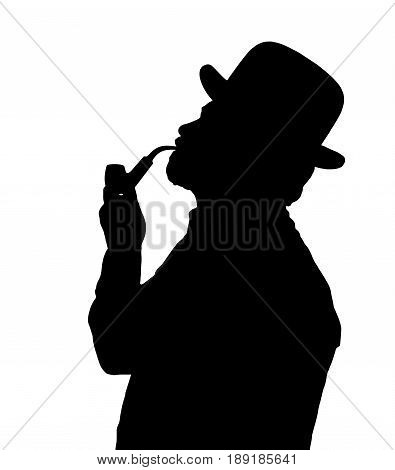 Silhouette Of Bearded Man Smoking Pipe With Bowler Hat Looking Up