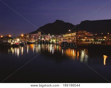 FROM CAPE TOWN, SOUTH AFRICA,  VICTORIA AND ALFRED, WATER FRONT AT NIGHT