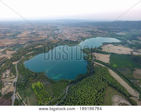 View of the Banyoles lake Girona Spain