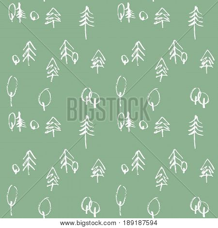 Minimalistic seamless pattern with hand drawn trees. Stylish modern pattern with doodled tree. Outlined sketchy background with forest.