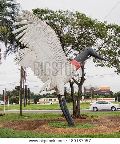 Sculpture Of A Tuiuiu On Aeroporto Internacional De Campo Grande