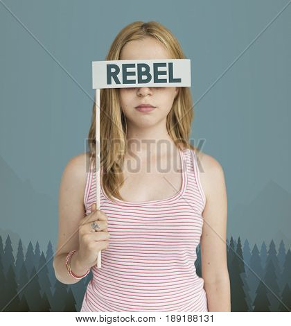 Young Woman Covering Eyes with Rebel Paper card