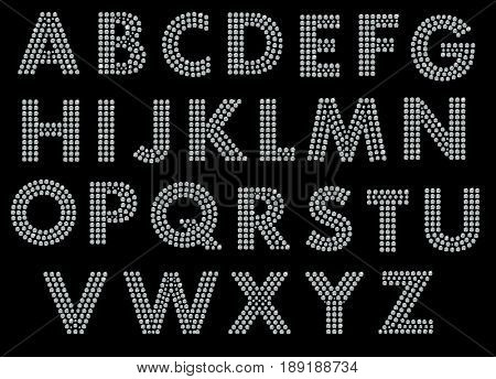 San serif alphabet font made of little blue diamonds with clipping path