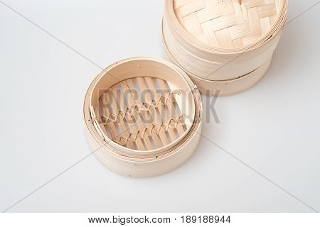 Isolated Blank Round Steamer Bamboo Basket Or Crate