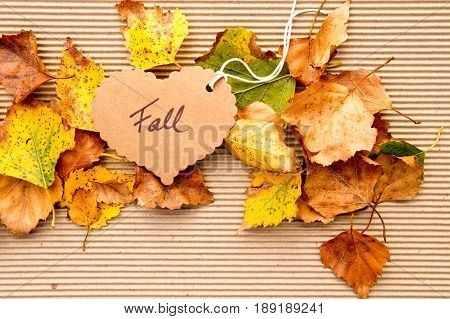 Autumn / Fall leaves on corrugated cardboard Background with heart shape tag