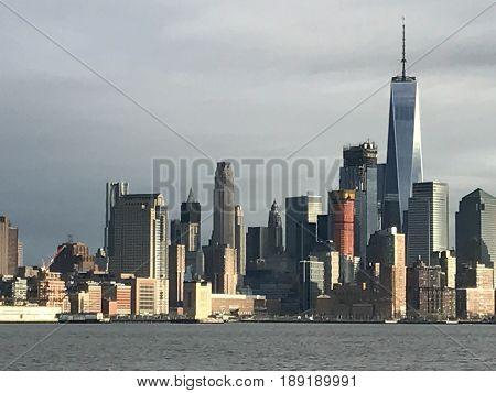 NEW YORK, NY - APR 1: View of Lower Manhattan in New York City, as seen on April 1, 2017. Manhattan is the most densely populated of the five boroughs of New York City.