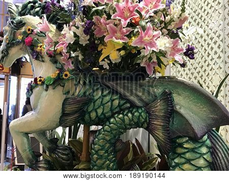 NEW YORK, NY - APR 1: Macys Flower Show in New York, as seen on April 1, 2017. The theme for this 43rd annual installment at the Macys Herald Square location was Carnival.