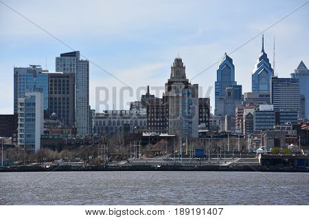 PHILADELPHIA, PA - APR 8: View of Philadelphia skyline from Camden in New Jersey, as seen on April 8, 2017. It is the largest city in the Commonwealth of Pennsylvania and the sixth-most populous city in the United States.
