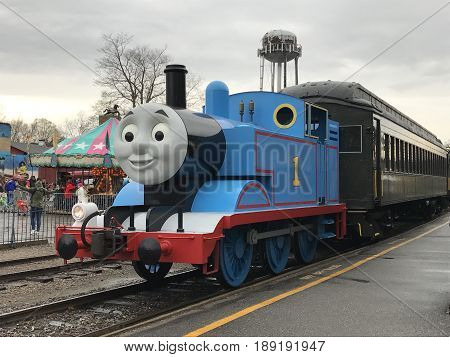 ESSEX, CT - APR 23: Day Out with Thomas at Essex Steam Train in Connecticut, as seen on April 23, 2017. This is an annual tour for a few weekends each year that Thomas the Tank Engine comes in for rides.