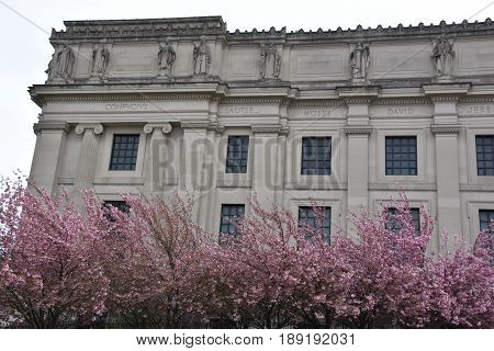 BROOKLYN, NEW YORK - APR 23: Brooklyn Museum in New York, as seen on April 23, 2017. At 560,000 square feet, the museum is New York City's third largest in physical size and holds an art collection with roughly 1.5 million works.