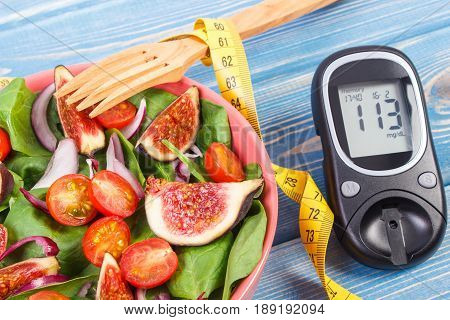 Fruit And Vegetable Salad And Glucose Meter With Tape Measure, Concept Of Diabetes And Healthy Nutri