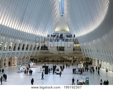 NEW YORK, NY - APR 30: Inside the Oculus of the Westfield World Trade Center Transportation Hub in New York, as seen on April 30, 2017. The mall opened on August 16, 2016.
