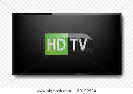 Tv realistic HD. Home. Electronic . Lcd. Vector illustration