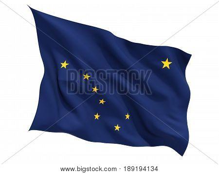 Flag Of Alaska, Us State Fluttering Flag