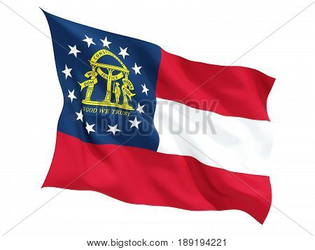 Flag Of Georgia, Us State Fluttering Flag
