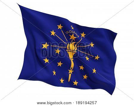 Flag Of Indiana, Us State Fluttering Flag