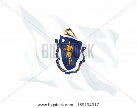 Flag Of Massachusetts, Us State Fluttering Flag