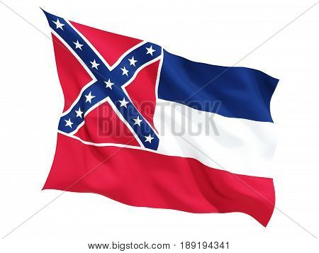 Flag Of Mississippi, Us State Fluttering Flag