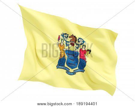 Flag Of New Jersey, Us State Fluttering Flag