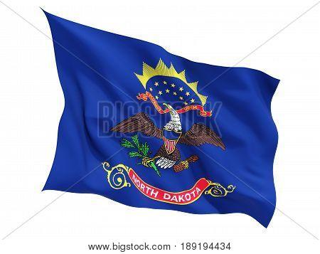 Flag Of North Dakota, Us State Fluttering Flag