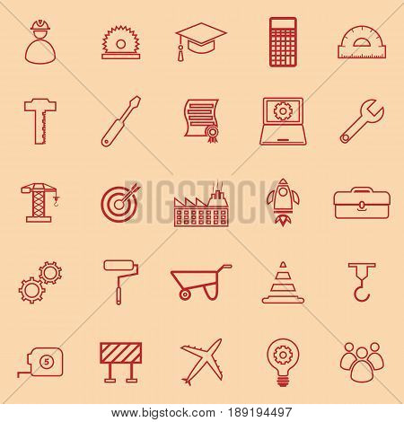 Engineering line color icons on orange background, stock vector