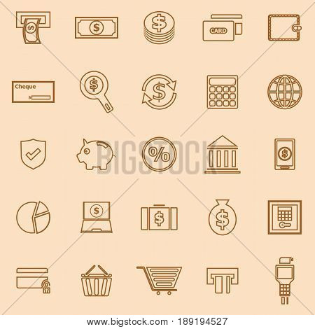 Payment line color icons on brown background, stock vector