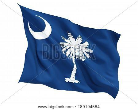 Flag Of South Carolina, Us State Fluttering Flag