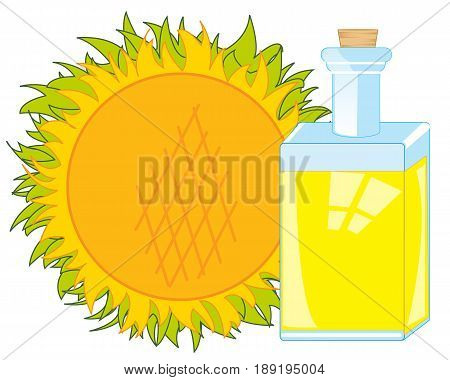 Sunflower and butter from it in bottle on white background