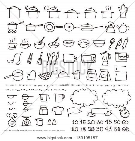 Hand drawn sketch cookware icon on white background
