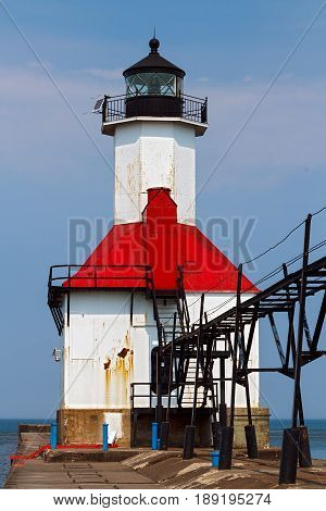 One of two of the St. Joseph Michigan North Pierhead LIghts with elevated catwalk approach