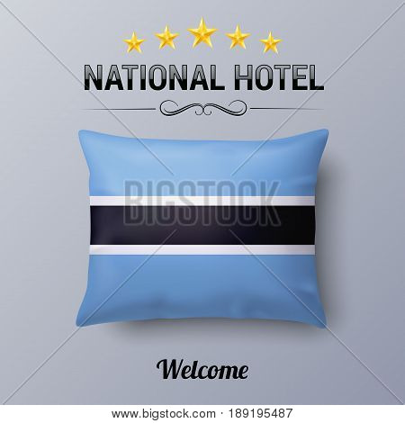 Realistic Pillow and Flag of Botswana as Symbol National Hotel. Flag Pillow Cover with flag design