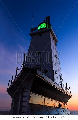 The Ludington Michigan North Breakwater Lighthouse on Lake Michigan