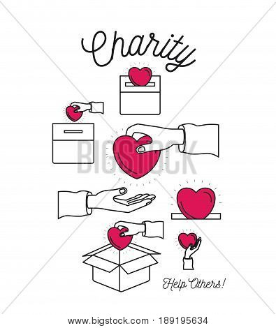 color silhouette image set charity help others and hands depositing heart shape in palm and in cardboard box vector illustration