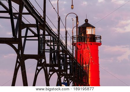 The South Pierhead Light in South Haven Michigan at sunrise.