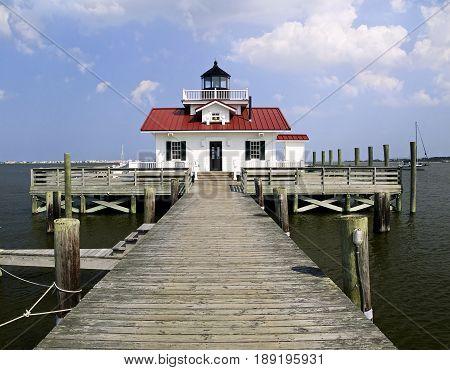 Roanoke Marshes Lighthouse in the harbor at Manteo North Carolina.