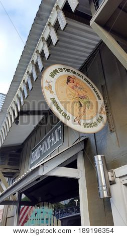 HONOLULU USA - JULY 15 2016: Brewseum Sign and Entrance to bar. The Brewseum is the first ever Brewpub-Museum Combination. We brew some of the best beer and share it with incredible history