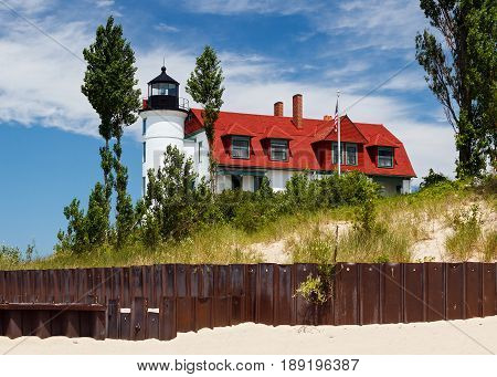 Pointe Betsie Lighthouse with Beach Sewall, Michigan