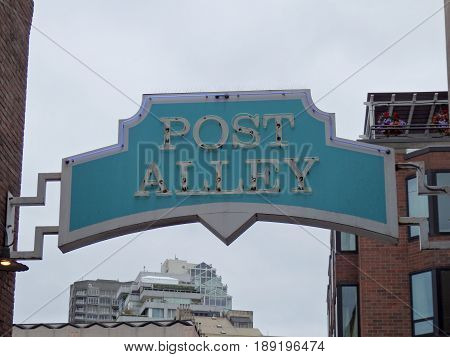 SEATTLE - JUNE 25: Post Alley Neon Sign at Pike Place Market in Seattle Washington on June 25 2016.